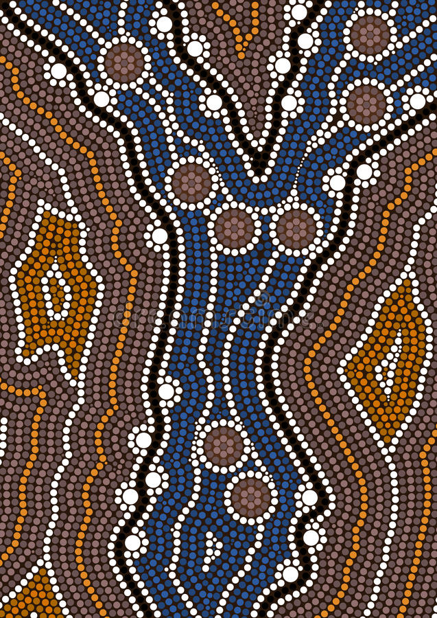 A illustration based on aboriginal style of dot painting depicting ford royalty free illustration