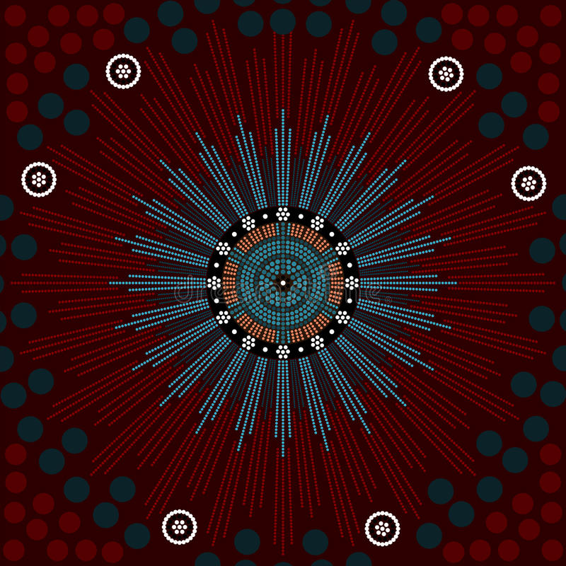 A illustration based on aboriginal style of dot painting depicting genesis royalty free illustration