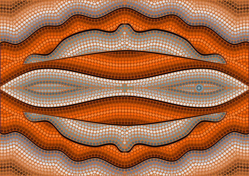 A illustration based on aboriginal style of dot painting depicting illusion stock illustration