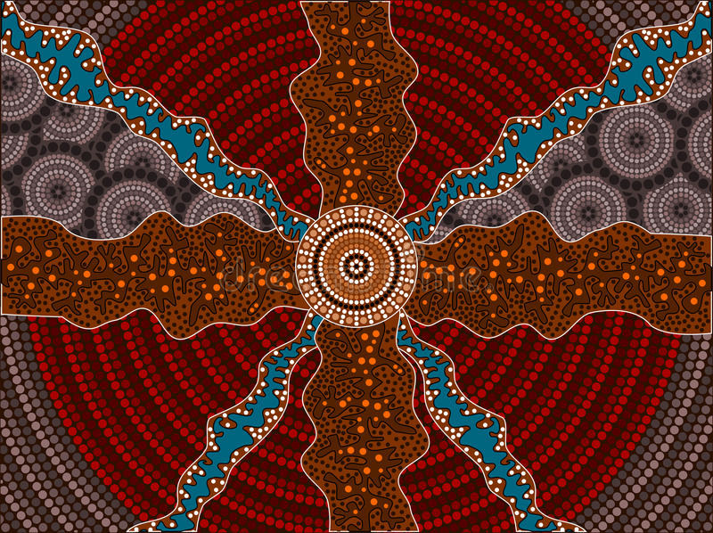 A illustration based on aboriginal style of dot painting depicting impacts royalty free illustration