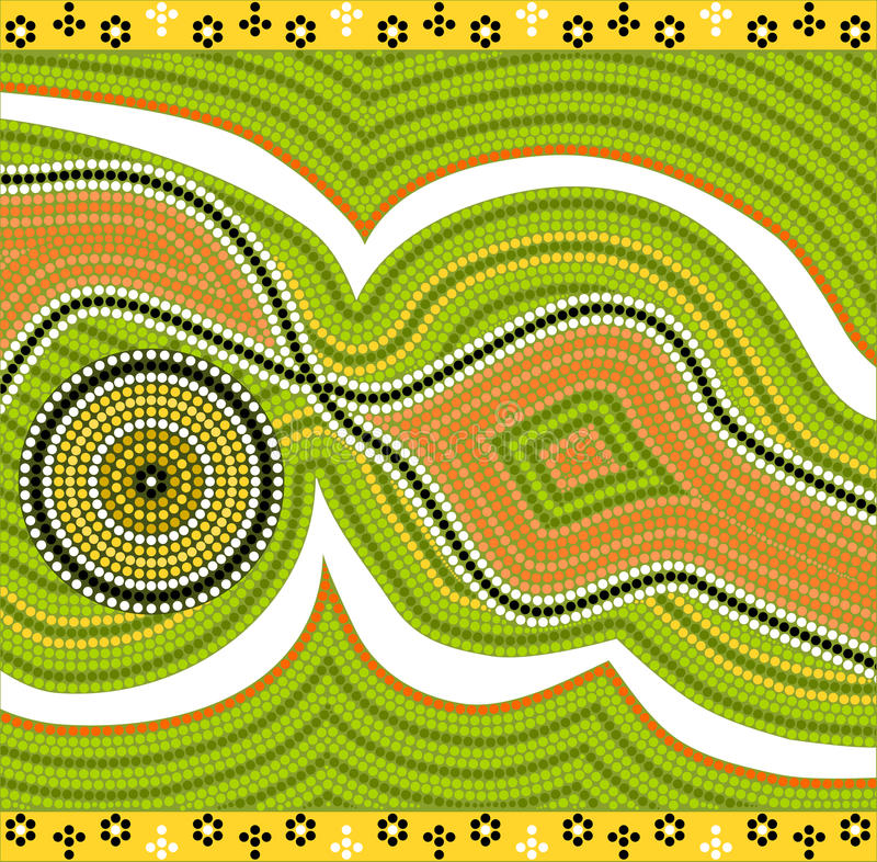 A illustration based on aboriginal style of dot painting depicting modernism vector illustration