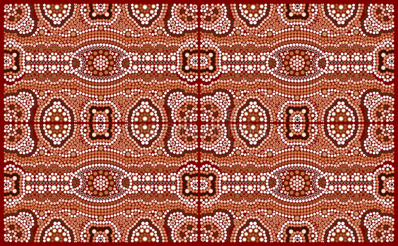 A illustration based on aboriginal style of dot painting depicting pattern vector illustration
