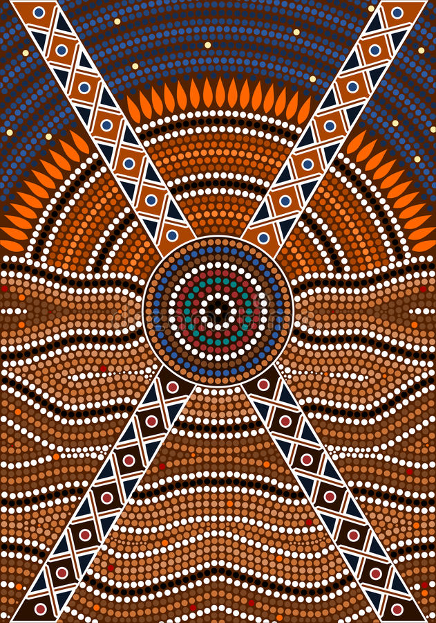 A illustration based on aboriginal style of dot painting depicting secret royalty free illustration