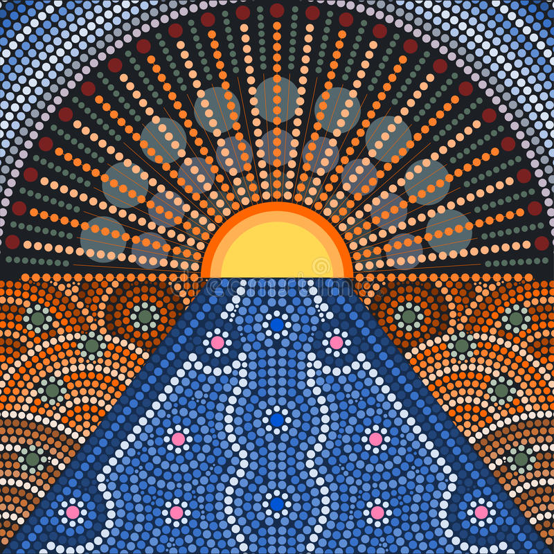 An illustration based on aboriginal style of dot painting. Depicting sunset stock illustration