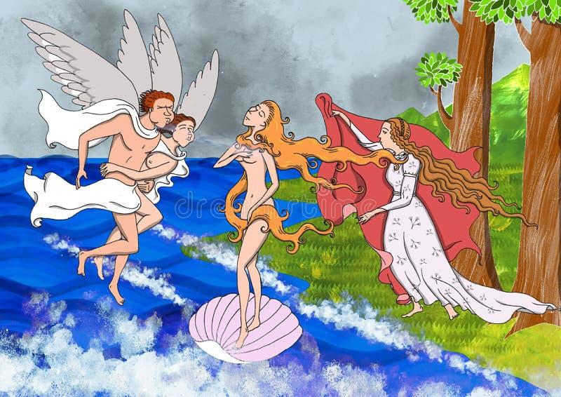 Illustration basiert auf der Renaissancemalerei der Geburt von Venus lizenzfreie abbildung