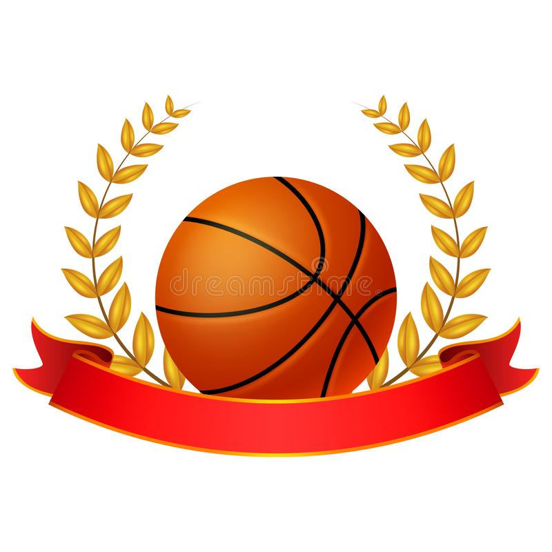 Basket ball Laurel Wreath with red ribbon royalty free illustration