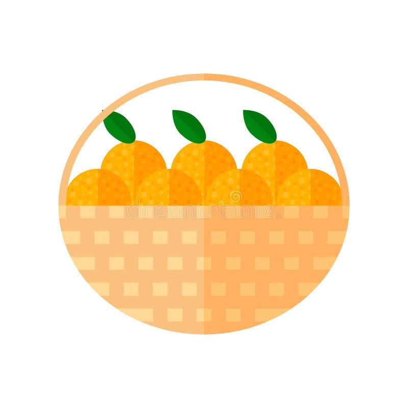 Illustration. a basket of oranges. Flat illustration. a basket of oranges royalty free illustration