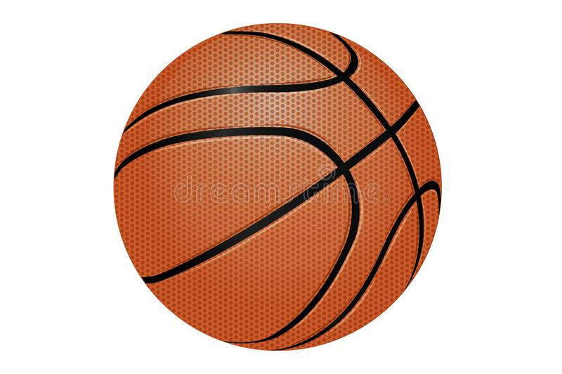3d illustration of basketball ball isolated on white background. Illustration basketball isolated white background brown orange circle design graphic closeup stock illustration