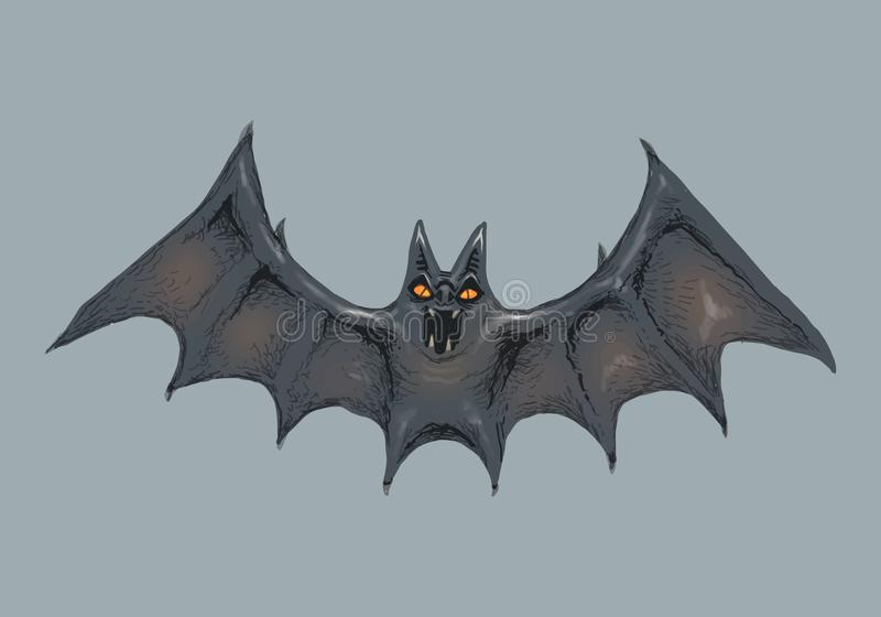 Illustration of a bat icon vector for Halloween royalty free illustration
