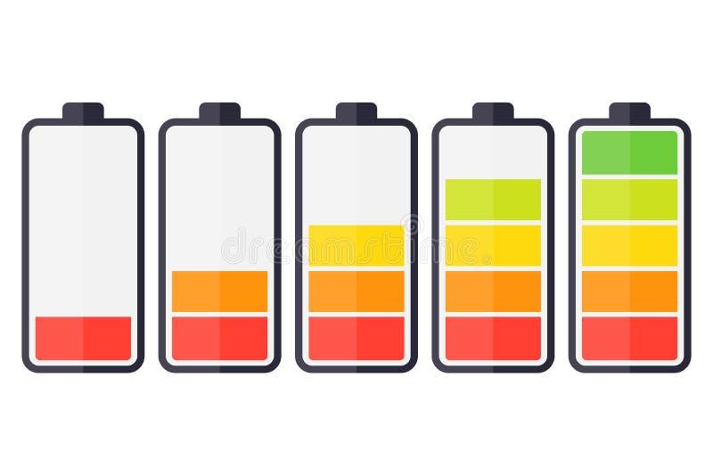 Illustration of battery level indicators. Battery life, accumulator, battery running low, battery recharging vector.  vector illustration