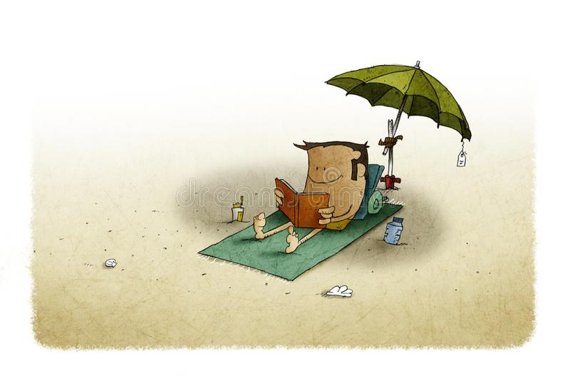 Under an umbrella a man is lying on a towel while reading a book. royalty free illustration