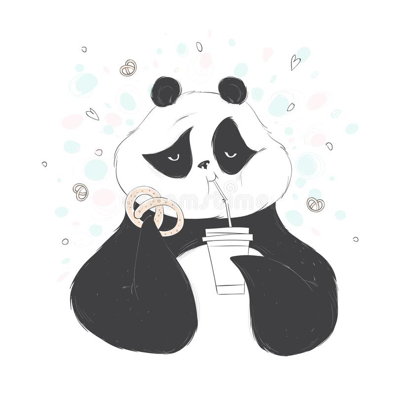 Illustration of a panda drinks through a straw coffee and holds a sweet pretzel. Vector hand drawn illustration. stock illustration