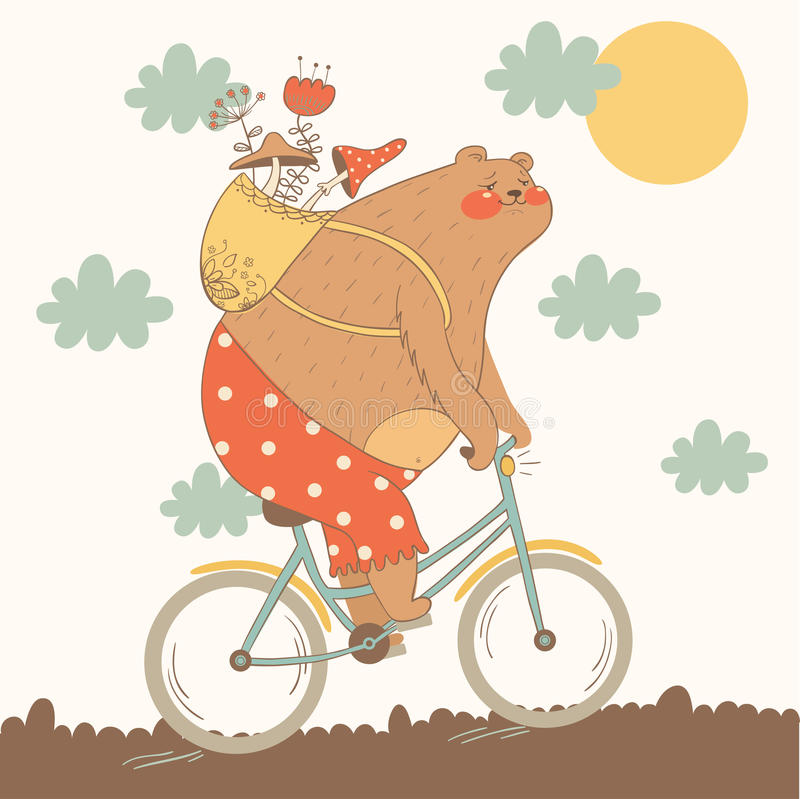 Illustration of bear riding a bicycle stock image