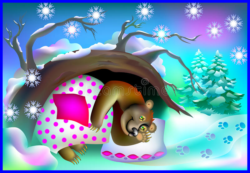 Illustration of bear sleeping in a cave during winter. royalty free illustration