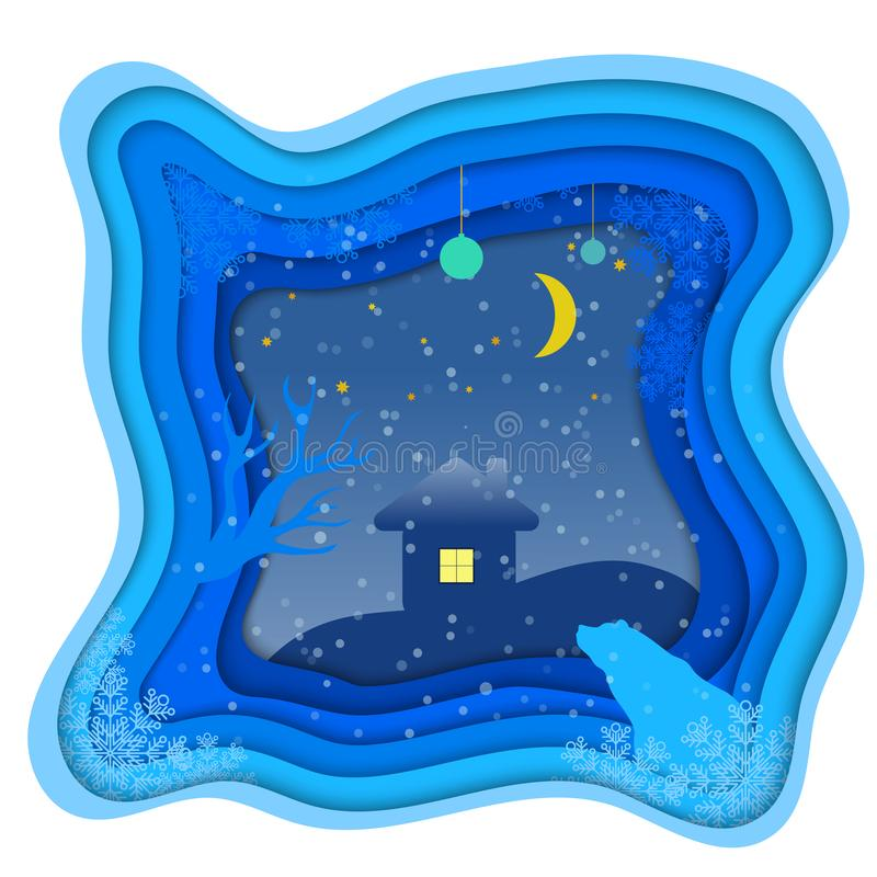 Illustration of a bear in winter on a night background. Style cut from paper. The snow and the starry sky. Illustration of a bear in winter on a night background royalty free illustration