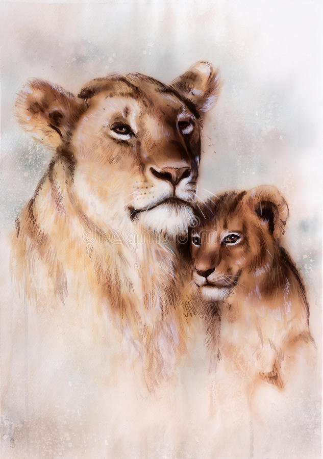 Illustration, beautiful airbrush painting of a loving lion mother and her baby. A beautiful airbrush painting of a loving lion mother and her baby cub royalty free illustration