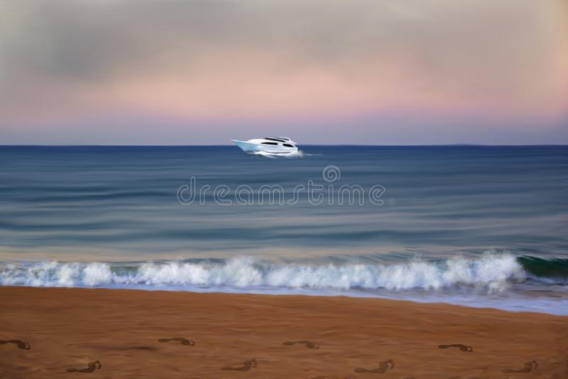 Beachfront with a boat passing in the distance royalty free illustration