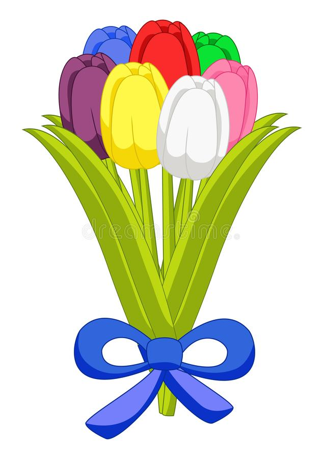 Beautiful bouquet of seven multicolored tulips flat design on white background stock illustration