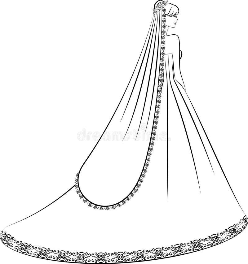 Illustration of beautiful bride royalty free illustration