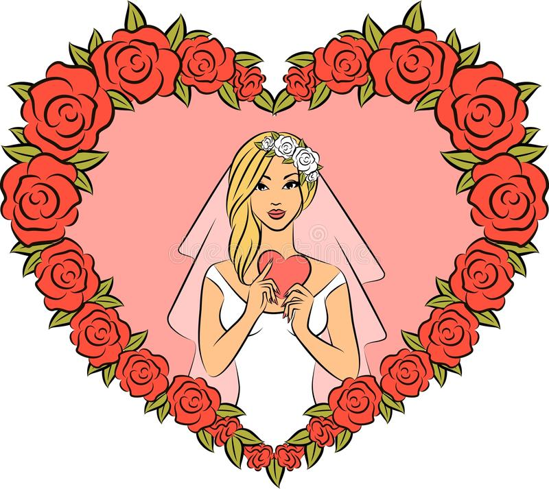 Illustration of beautiful bride vector illustration