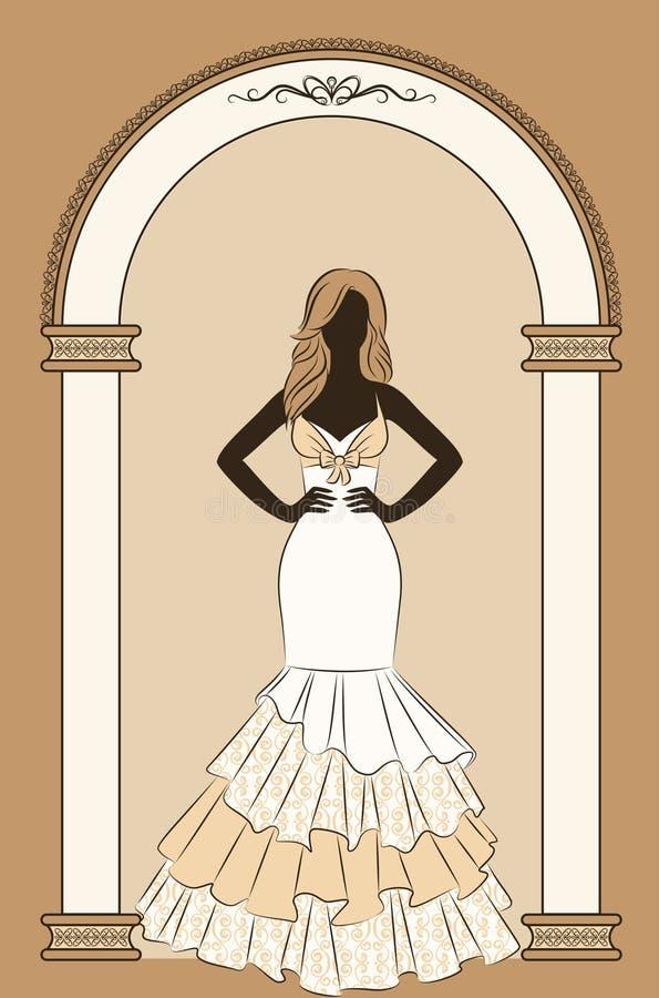 Illustration of beautiful bride stock illustration
