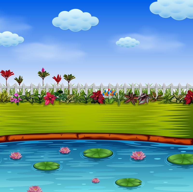 The beautiful garden with the blue lake vector illustration