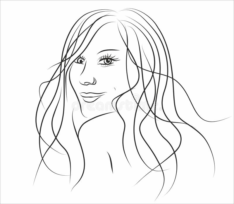 Download Illustration Of Beautiful Girl With Long Hair Stock Vector - Illustration: 23044498