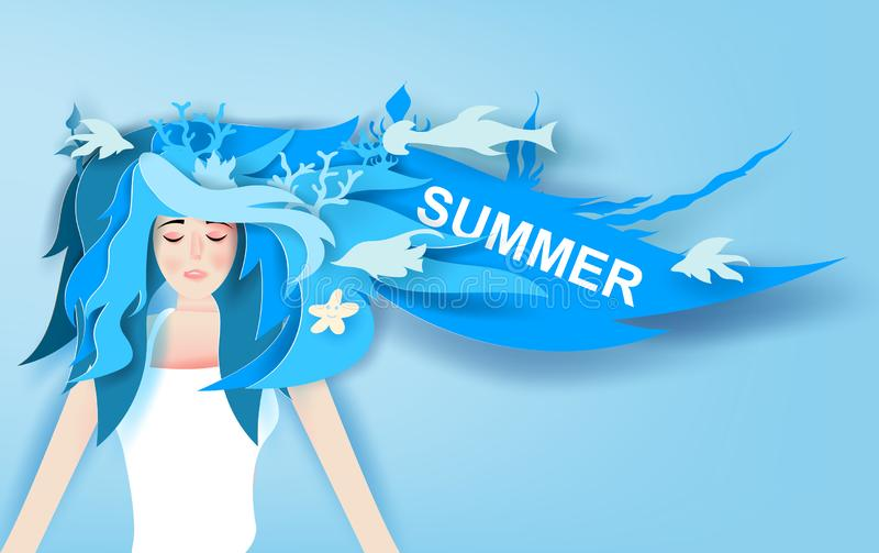 Illustration of Beautiful girl with long hair wear summer trip with Deep blue marine life decoration.portrait of young cute woman stock illustration