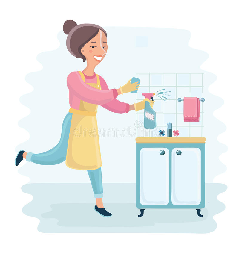 Kitchen Clean Up Cartoon: An Illustration Of A Beautiful Housewife Holding Cleaning
