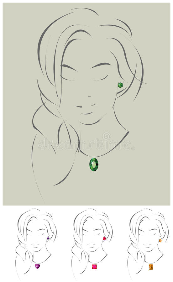 Illustration Of Beautiful Jewelry Model Stock Images