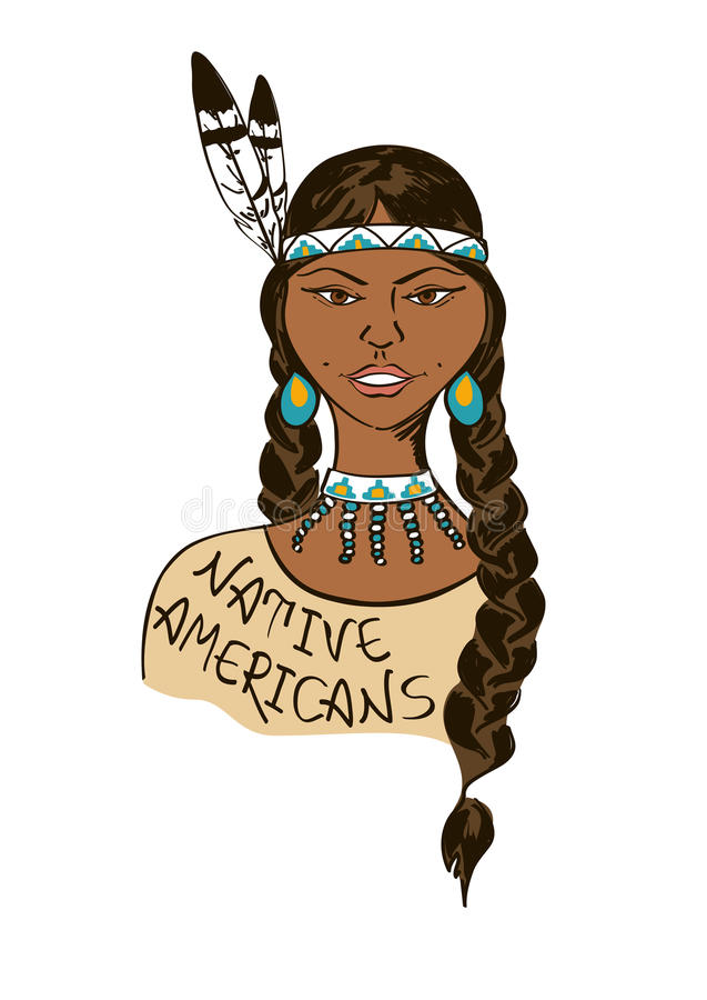 Illustration with beautiful Native American Indian girl vector illustration