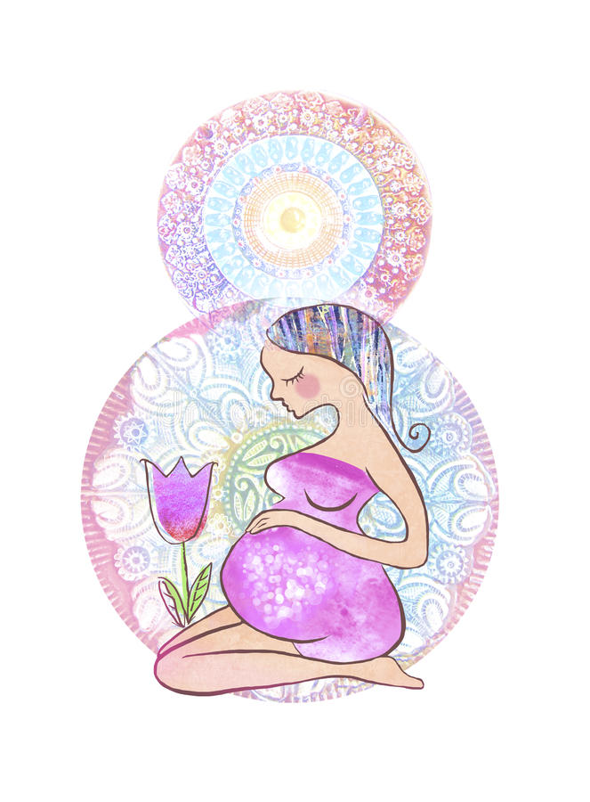 Illustration of beautiful pregnant woman and tulip flower on a figure of eight background. Happy woman`s day design. New born. Hap royalty free illustration