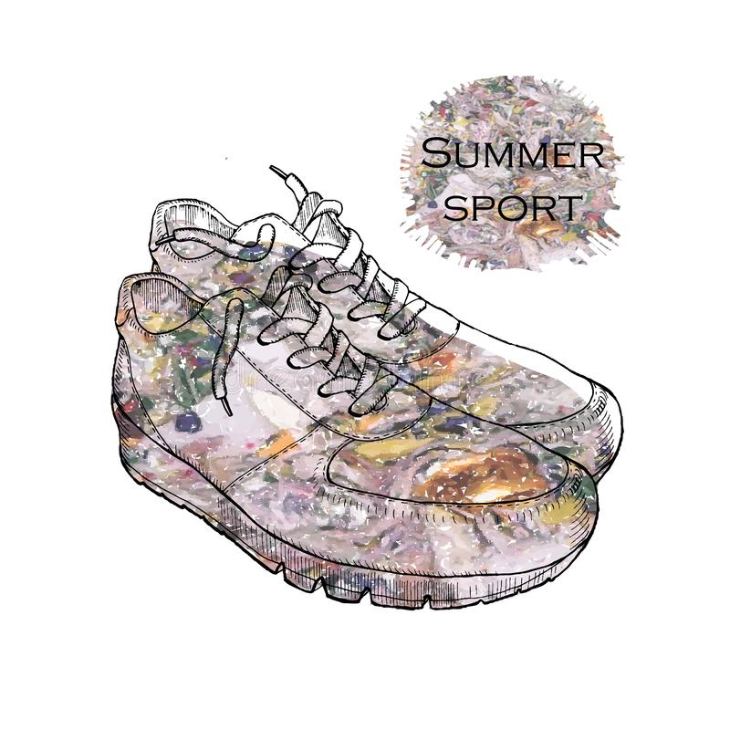 Illustration of Beautiful sneakers for a picture or poster. Shoe of hand drawn style with flower texture. Youth shoes royalty free stock image