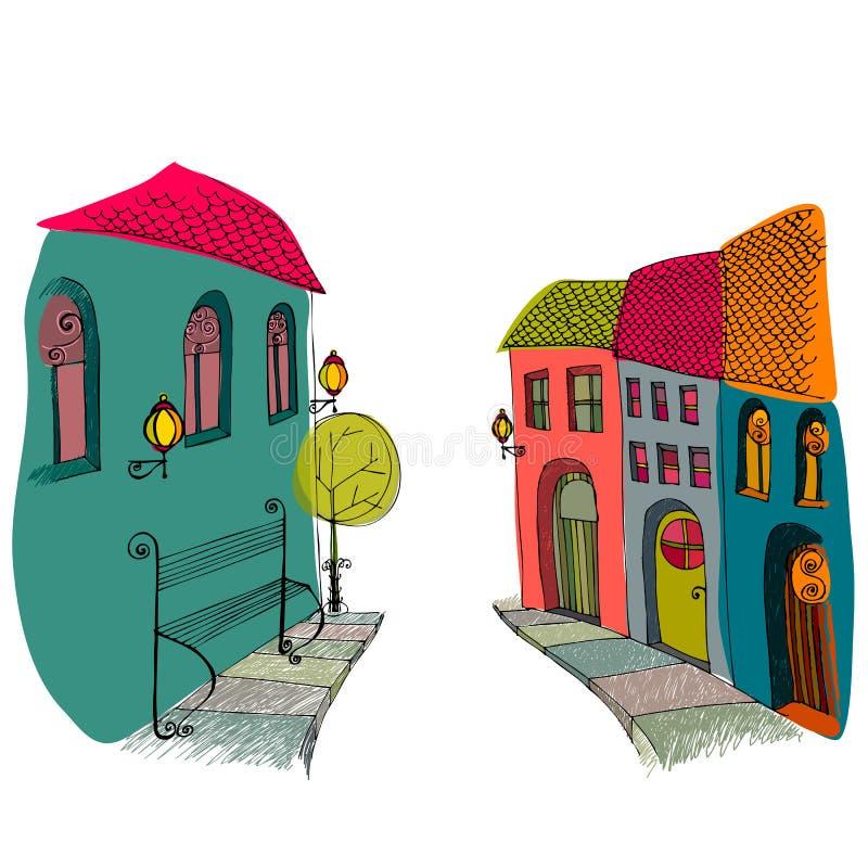 Illustration of beautiful street royalty free illustration