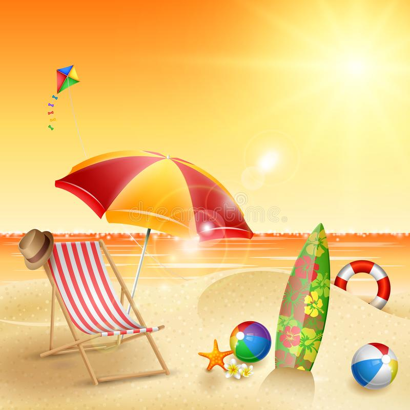 Beautiful Vintage Summer Seaside Illustration Royalty Free: Summer. Hallo Summer With Landscap Background Stock