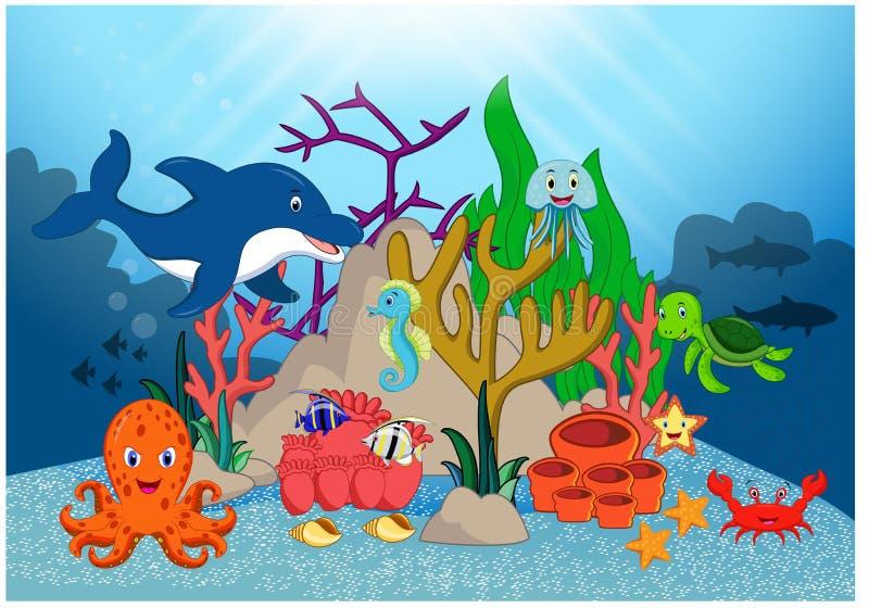 Beautiful Underwater World Cartoon. Illustration of Beautiful Underwater World Cartoon royalty free illustration