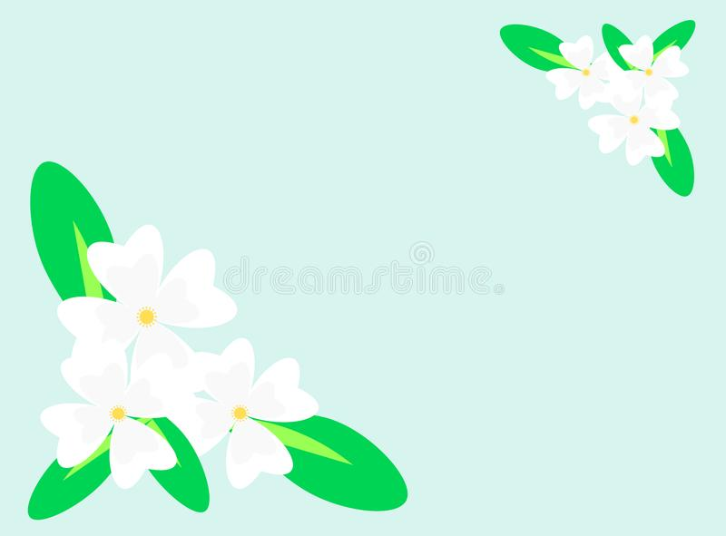 Illustration of beautiful white flower bouquet. Picture with copy space royalty free illustration