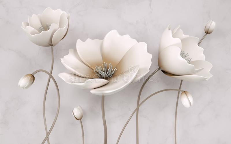 Illustration of beautiful White flower decorative on gray wall background 3D wallpaper. Graphical modern art royalty free stock photos