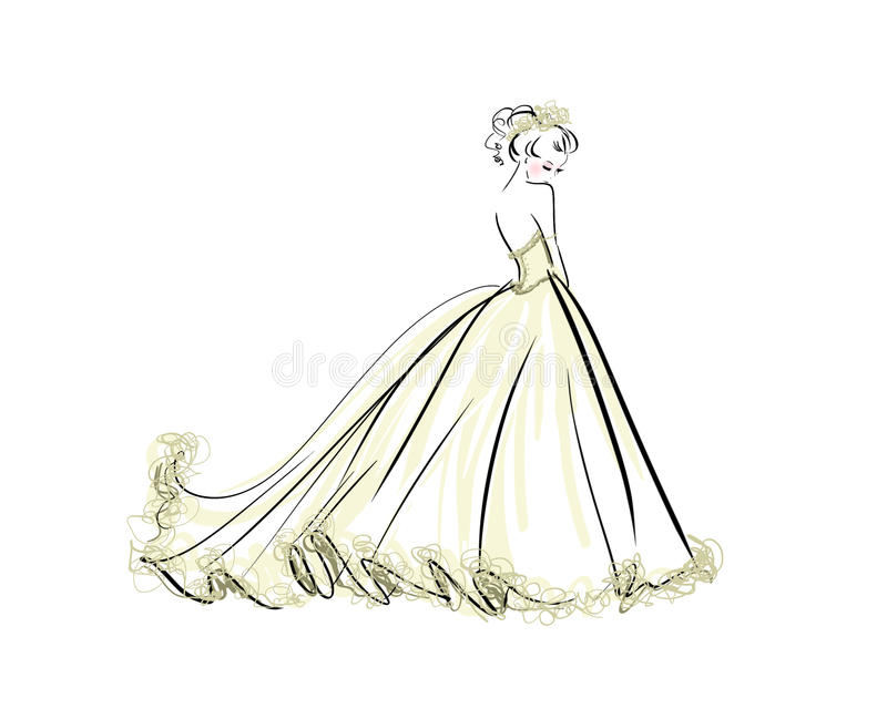 Illustration of beautiful woman in bridal gown for Wedding Invitation Bride royalty free illustration