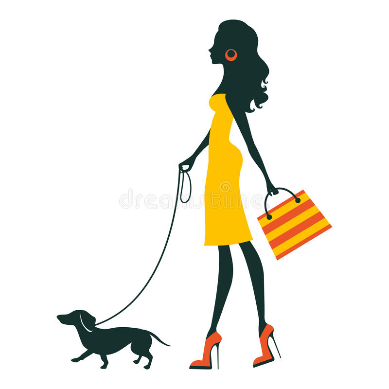 Illustration of a Beautiful woman with dachshund. Illustration of a Beautiful woman silhouette with dachshund stock illustration
