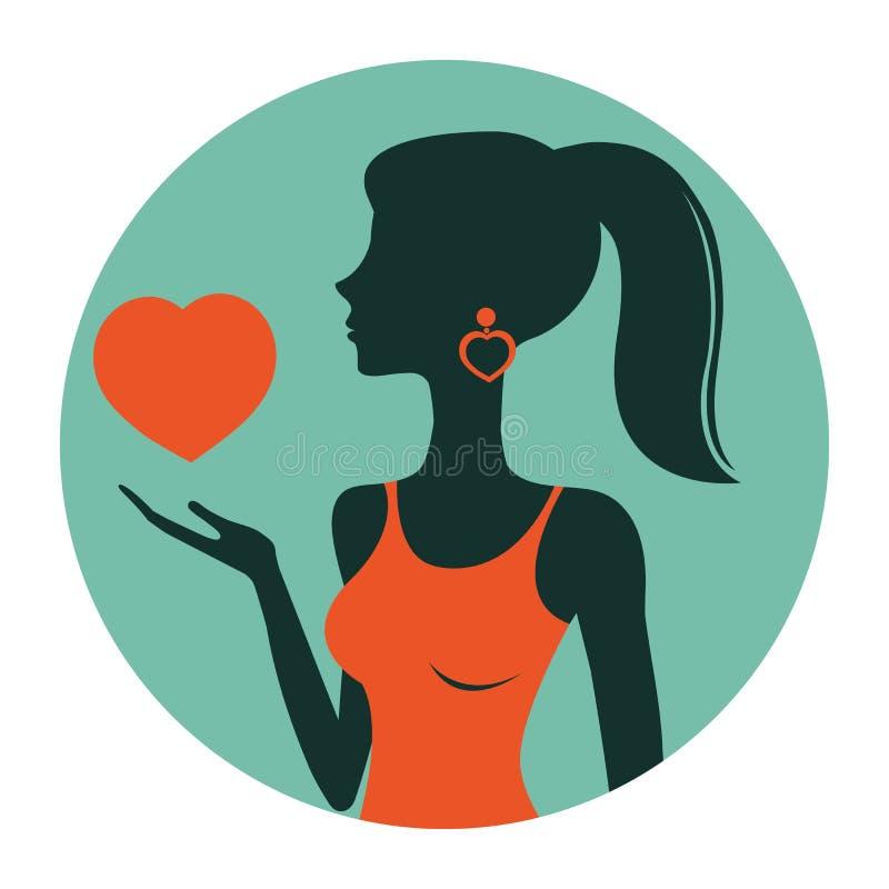 An illustration of beautiful woman holding heart stock illustration