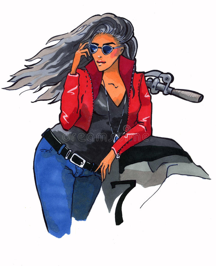 Illustration of beautiful woman with motorcycle royalty free illustration