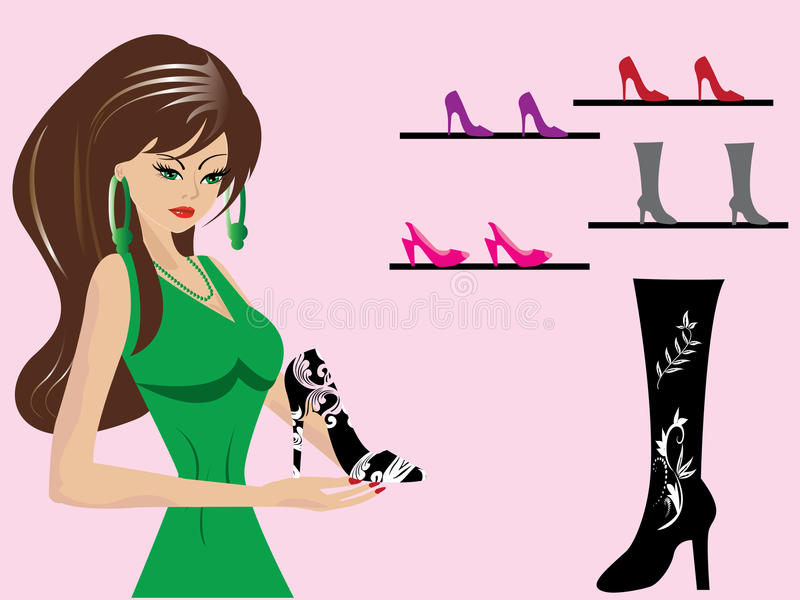 Beautiful-woman-in-shoe-shop