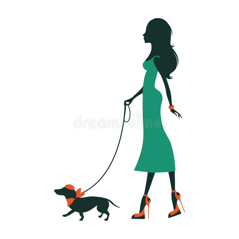 Illustration of a Beautiful woman silhouette with dachshund royalty free illustration