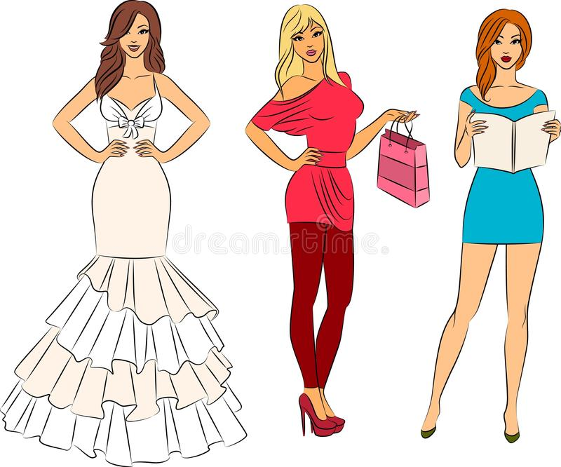 Illustration of beautiful women stock illustration