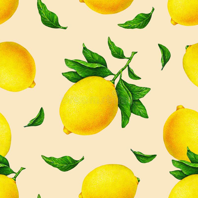 Illustration of beautiful yellow lemon fruits on a branch with green leaves on an orange background. Watercolor seamless pattern. vector illustration