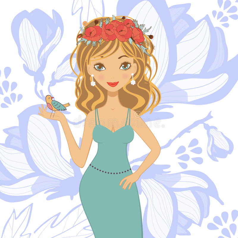 Illustration of beautiful young woman royalty free illustration