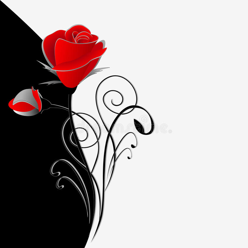 Illustration of beauty black and white floral background with a bouquet of red roses. royalty free illustration