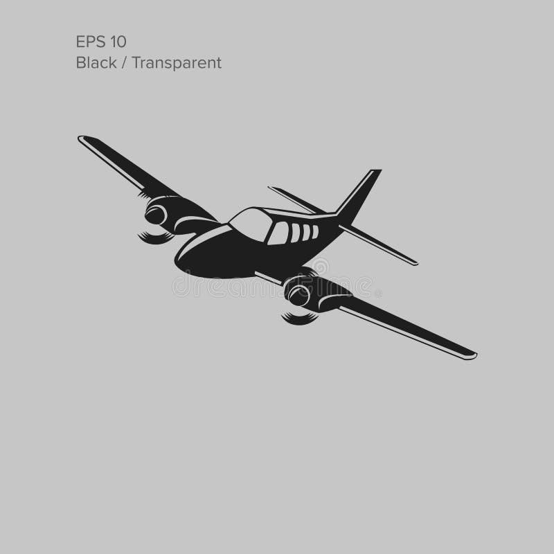Illustration Beechbaron liten för plan vektor Tvilling- motor framdrivit flygplan också vektor för coreldrawillustration stock illustrationer