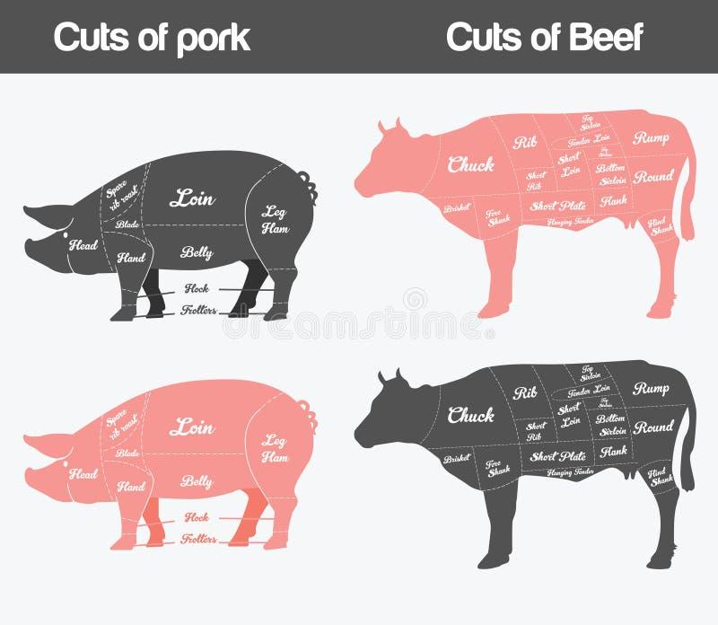 Illustration of beef, pork Cuts Chart. Set vector illustration